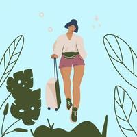 Trendy style traveling girl with luggage at the airport vector