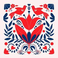 Folk art Scandinavian colourful floral pattern with birds