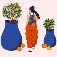 niña de estilo de dibujos animados viajando con mochila alrededor de las plantas vector