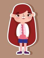 Cartoon character little girl sticker