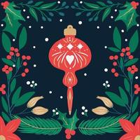 Retro hand drawn Christmas ornament and foliage