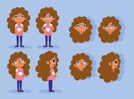 Cartoon animation girl character faces and bodies