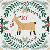 animal de navidad dibujado a mano y follaje vector