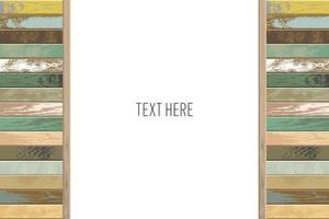 Faded wooden plank frame with copy space vector