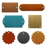 Set of different shaped leather labels vector