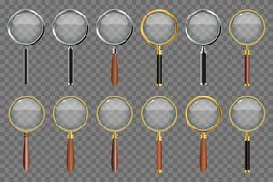 Realistic magnifying glass set vector