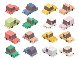 Isometric colorful car set vector