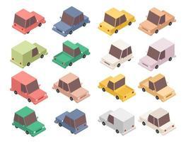 conjunto de coche colorido isométrico