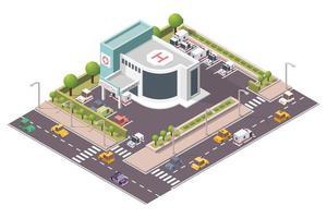 Edificio del hospital isométrico con ambulancia.