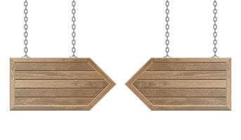 Wooden arrow boards hanging from steel chains