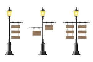 Wooden boards hanging on vintage street lamps