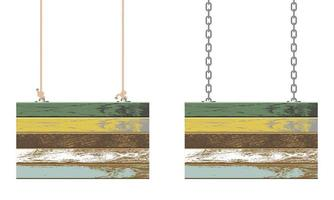 Vintage wooden boards hanging on chain and rope