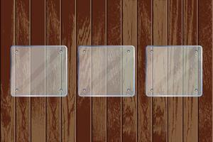 Square transparent glass plates on wooden textured background vector