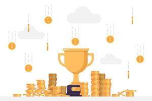 Gold winner trophy under a rain of coins vector