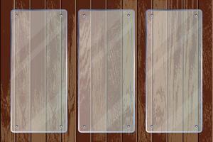 Placas de vidrio transparente rectangular sobre textura de madera vector