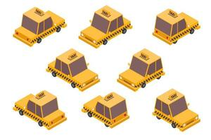 Isometric taxi car set