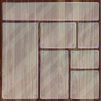 Rectangle and square transparent glass plates on wooden texture vector