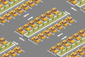 Isometric taxi parking composition