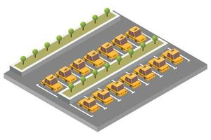 Isometric taxi parking composition vector