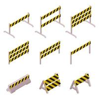Isometric under construction barrier set