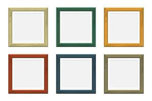 marcos cuadrados de madera de diferentes colores