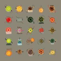 raksha bandhan, conjunto de iconos de pulsera tradicional india vector