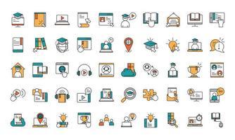 conjunto de iconos de educación en línea vector