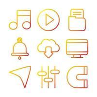 Interface, digital, and web technology icon set