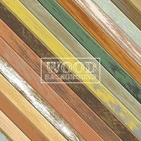 Vintage angled wooden background with old faded colors vector