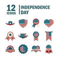 conjunto de iconos de color del día de la independencia de estados unidos vector