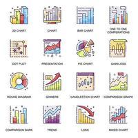 Financial diagram flat icons set vector