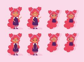 Cartoon animation girl character faces and bodies vector