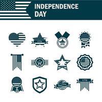 Estados Unidos día de la independencia silueta conjunto de iconos vector