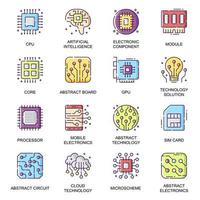 Conjunto de iconos planos de piezas de electrónica vector
