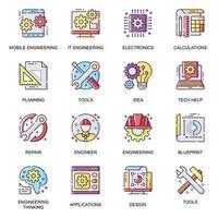 Modern engineering, flat icons set vector
