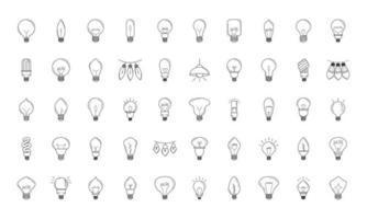 conjunto de iconos de línea de bombilla de luz eléctrica