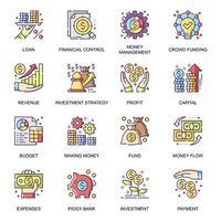 gestión financiera, conjunto de iconos planos vector