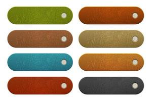 Set of rounded leather labels vector