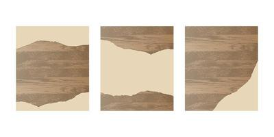 Ripped paper on wooden board set vector