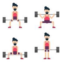 Man character lifting weights vector