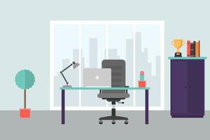 Modern office workplace in flat style vector