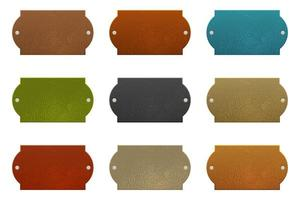 Set of colored leather labels vector