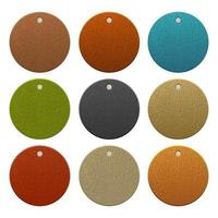 Set of circular colored leather labels vector