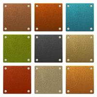 Set of square colored leather labels vector