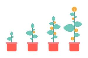 Potted plants with gold coins vector