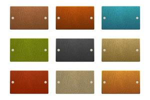Set of rectangle colored leather labels vector