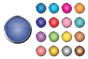 Realistic round colored buttons set vector
