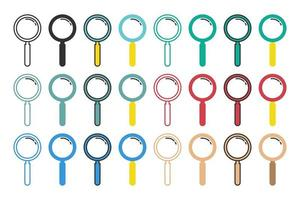 Set of colorful magnifying glass icons vector