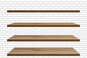 Realistic empty wooden shelves on white brick wall vector
