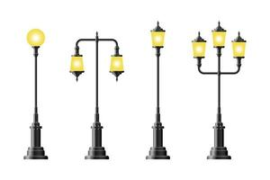 Set of realistic vintage street lamps